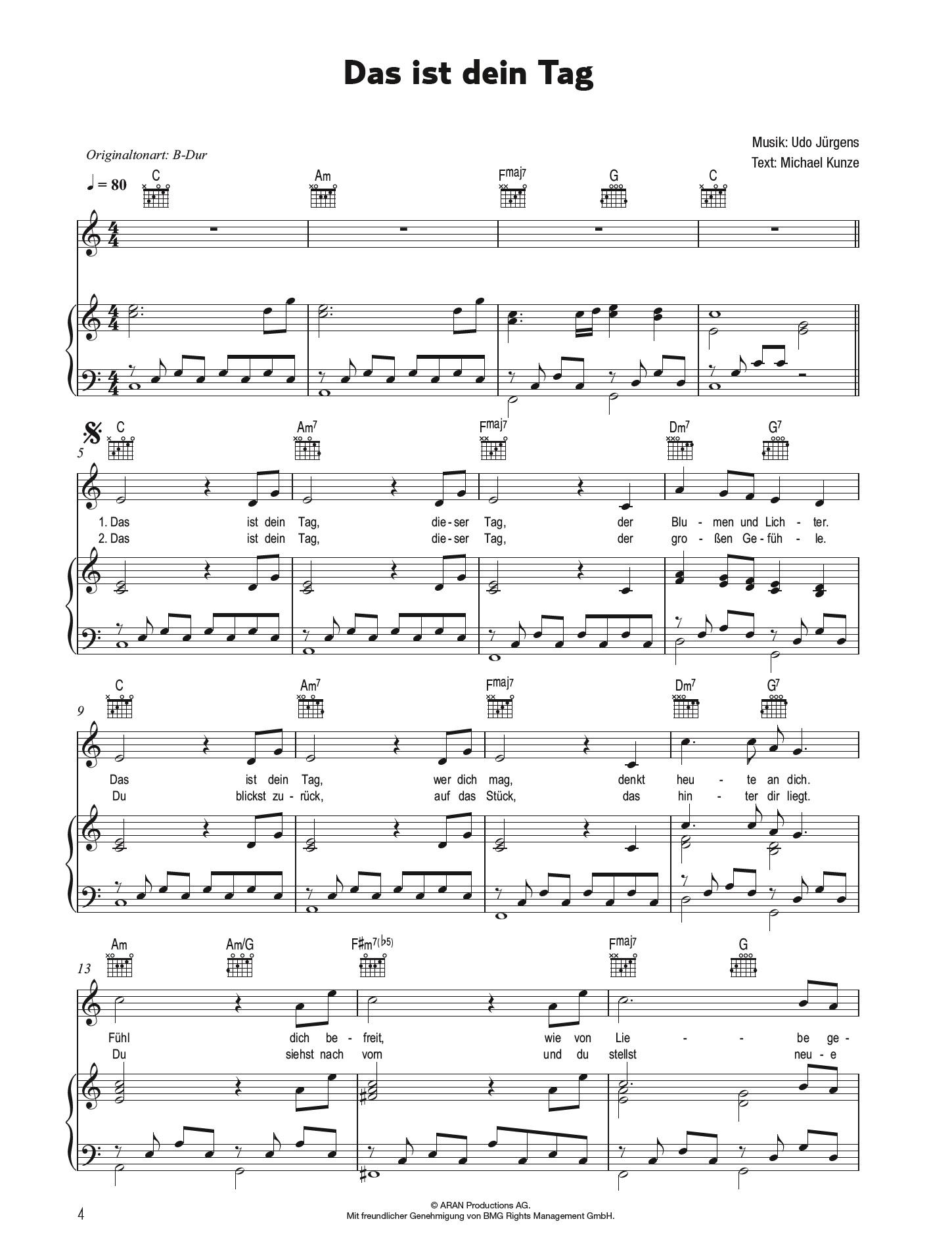 Seine größten Erfolge für Klavier Udo Jürgens Songbook Gesang und Gitarre